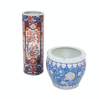 Imari Umbrella Stand and Blue and Pink Fishbowl, 20th Century
