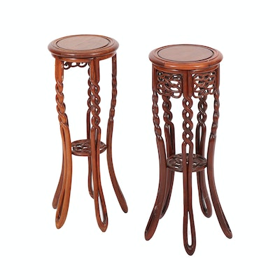 Pair of Wooden Open Barley Twist and Knot Plant Stands, Mid to Late 20th Century