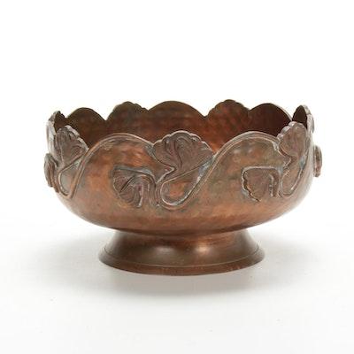 Art Nouveau Copper Footed Bowl, Antique