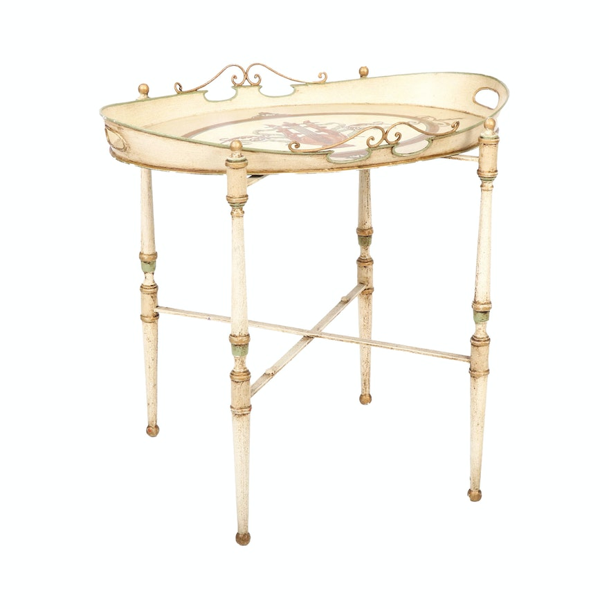 Hand-Painted French Provincial Style Metal Tray Table, 20th Century