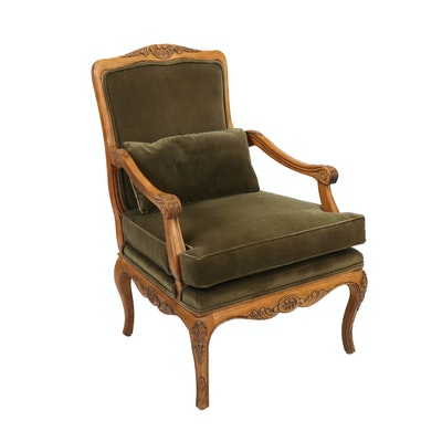 Century Louis XV Style Fauteuil Velveteen Upholstered Chair, Late 20th C