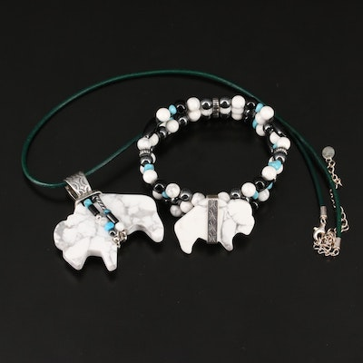Western Relios Buffalo Fetish Necklace and Bracelet with Hematite and Turquoise