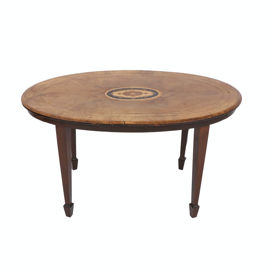 Wood Marquetry Oval Coffee Table, Early 20th Century