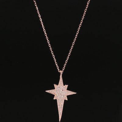 Sterling Silver North Star Pendant Necklace Featuring Cubic Zirconia Accents