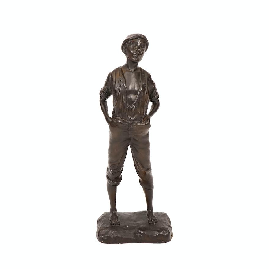 Bronze Sculpture of a Young Boy after Karl P. Kowalczewski
