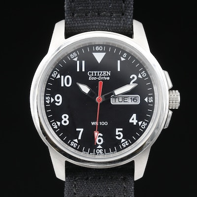 Citizen Eco-Drive with Day/Date Stainless Steel Wristwatch