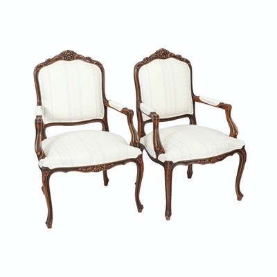 Pair of French Provincial Style Carved Wood Fauteuils, 20th Century