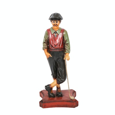 Carved Wood Golfer Sculpture, 20th Century