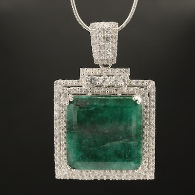 Sterling Silver Square Beryl and Sapphire Halo Pendant Necklace