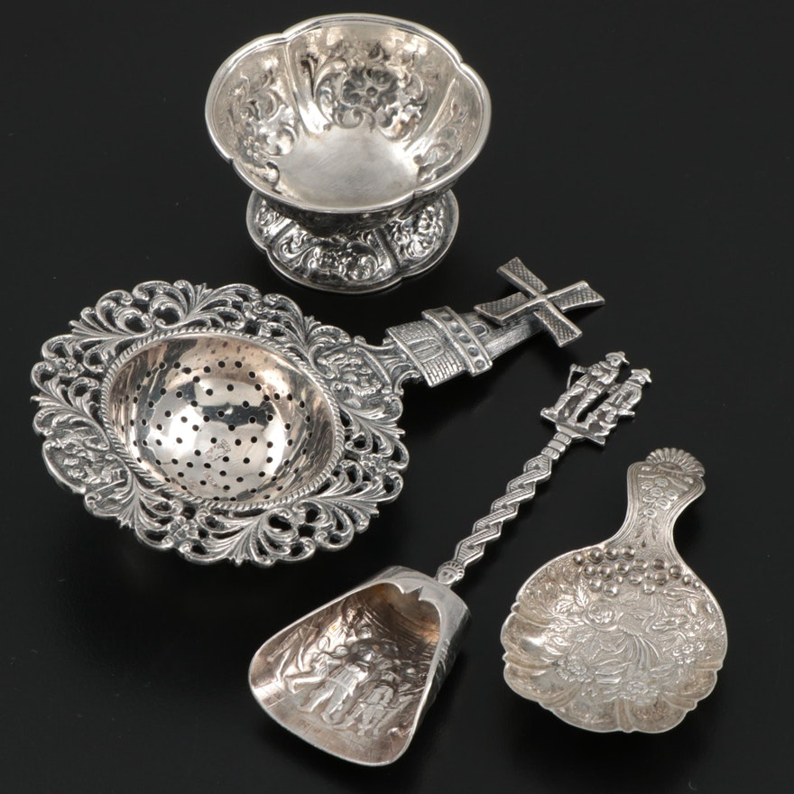Dutch Baroque Silver Plate Tea Strainer with Silver Caddy Scoops and Salt Cellar