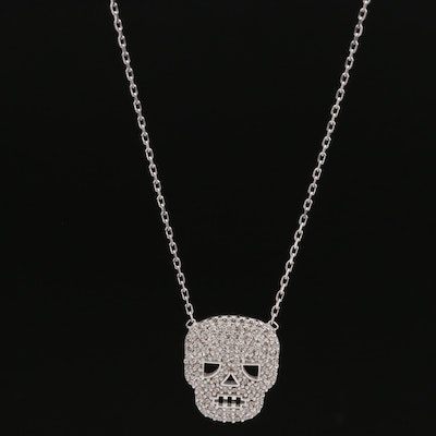 Sterling Silver Cubic Zirconia Skull Pendant Necklace