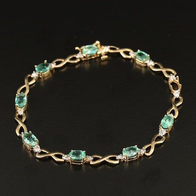 14K Emerald and Diamond Infinity Link Bracelet