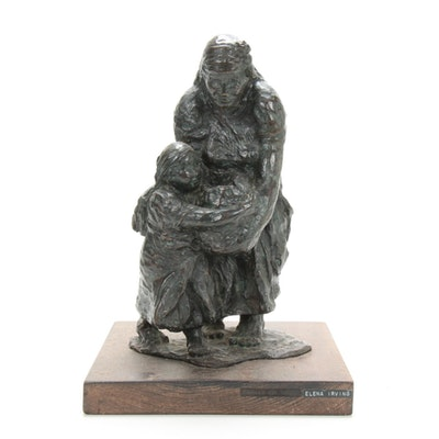 "Elena Irving Bronze Sculpture ""Helping Hands, Chamula Indian Family"""
