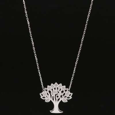 "Sterling Silver Cubic Zirconia ""Tree of Life"" Pendant Necklace"