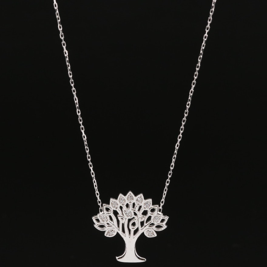 """Sterling Silver Cubic Zirconia """"Tree of Life"""" Pendant Necklace"""