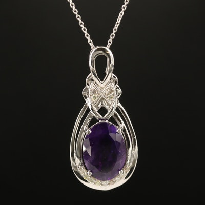 Sterling Silver Amethyst and Diamond Oval Pendant Necklace