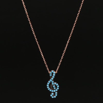 Sterling Silver Glass and Imitation Turquoise Treble Clef Pendant Necklace