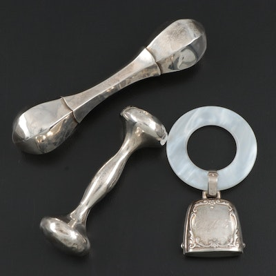 Webster and Alvin Sterling Silver Rattles and Teething Ring, Mid-20th Century