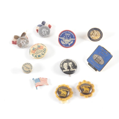 1932 George Washington Bicentennial, Hoover/Cooper, and Landon/Knox Pins