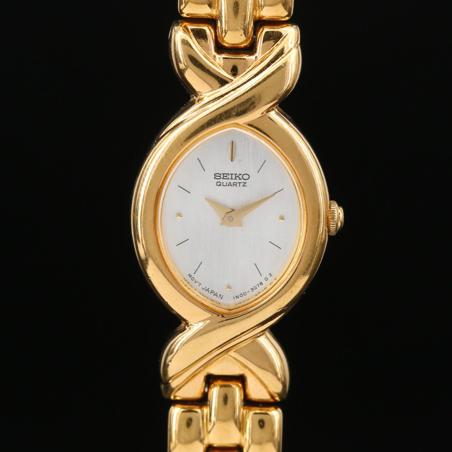 Seiko Mother of Pearl Dial and Gold Tone Quartz Wristwatch