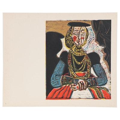 """Pablo Picasso Linoleum Cut """"Portrait of a Lady,"""" 1962"""