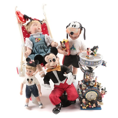 Ashton-Drake Porcelain Disney Figurines, Clock, Snow Globe, and More