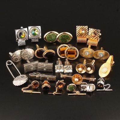 Vintage Gemstone Cufflinks,Tie Bars and Tie Tacs with Rhinestones and Black Onyx