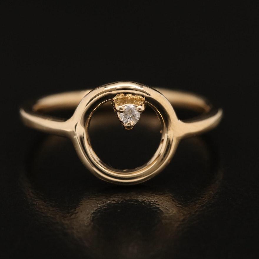 14K 0.02 CT Diamond Solitaire Geometric Ring
