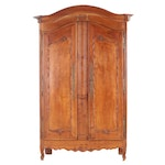 Period French Walnut Armoire, Converted to Media Cabinet