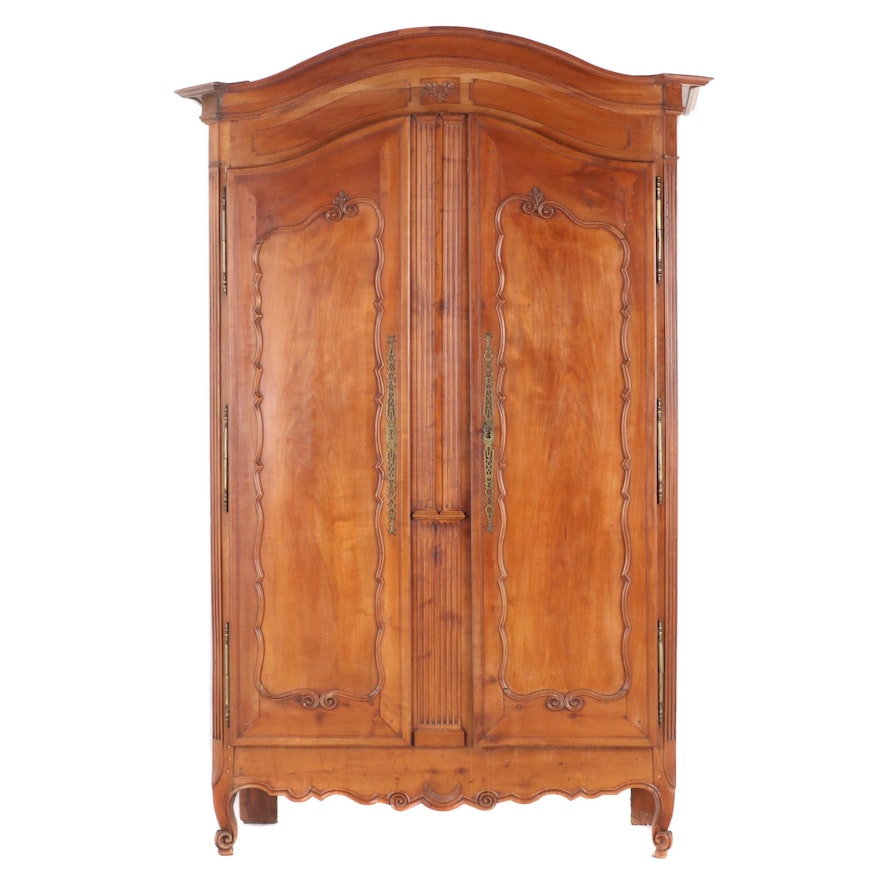 French Provincial Fruitwood Armoire, Early 19th Century and Adapted