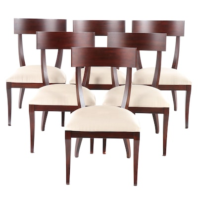 "Ethan Allen ""Klismos"" Contemporary Upholstered Dining Chairs"