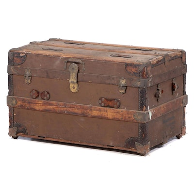 Late Victorian Slatted Oak and Canvas-Lined Steamer Trunk