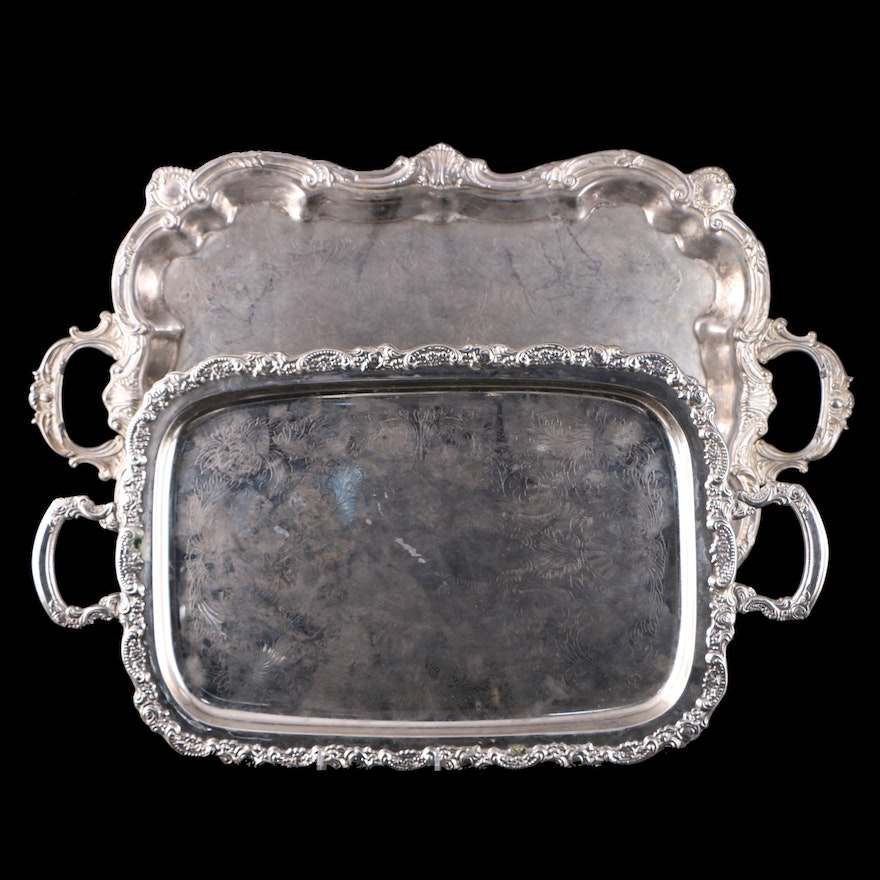 Silver Plate Serving Double Handled Trays, Late 20th Century