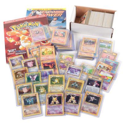 Pokémon Base Set Cards Including Holographics and Pokemon Magazine, 1990s