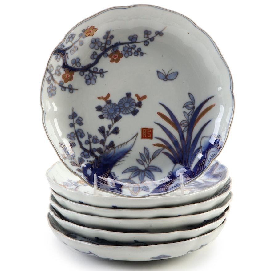 Japanese Arita Floral Porcelain Coupe Plates, Meiji Period