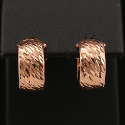 14K Diamond Cut Huggie Earrings
