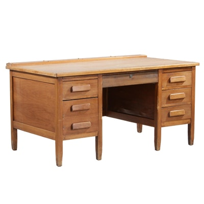 Gunn Furniture Oak Veneer Kneehole Desk, Mid 20th Century