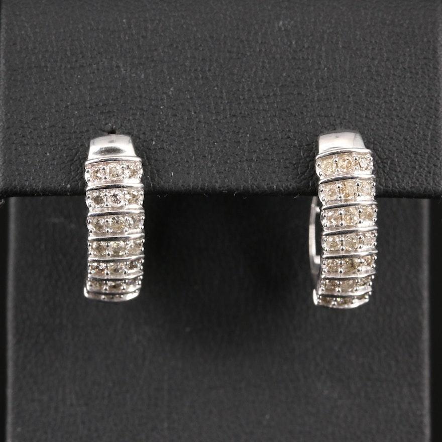 Sterling Silver 1.05 CTW Diamond Oval Hoop Earrings