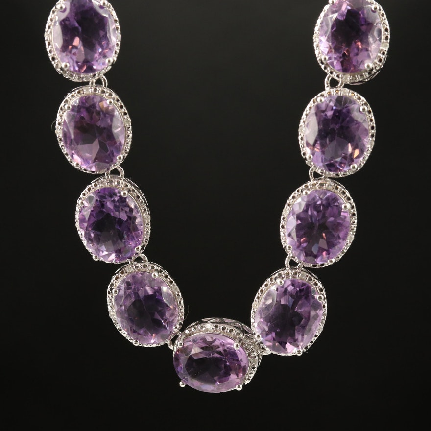 Sterling Silver Amethyst Necklace with Diamond Halos