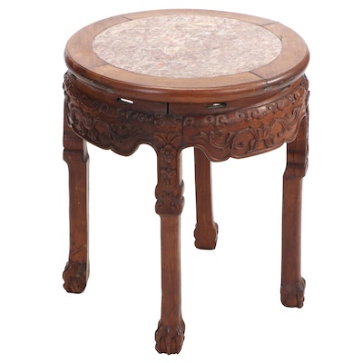Chinese Carved Wood and Rouge Marble Low Table
