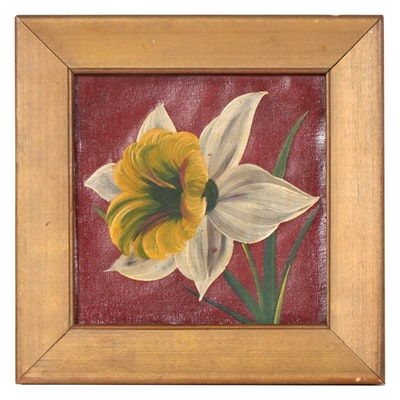 Floral Acrylic Painting of a Daffodil