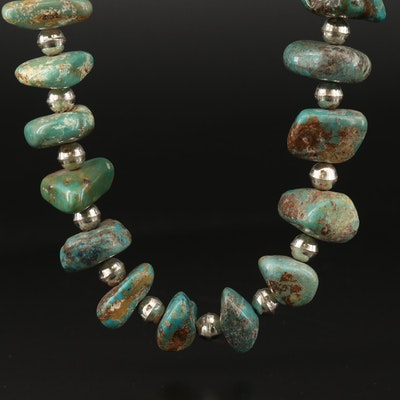 Southwestern Style Turquoise Necklace with Sterling Silver End Caps and Clasp