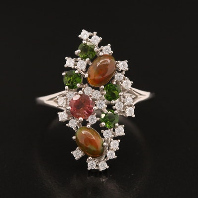 Sterling Silver Openwork Ring with Opal, Diopside, Cubic Zirconia and Tourmaline
