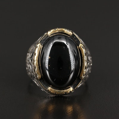 Sterling Silver Black Onyx Ring with Floral Motif