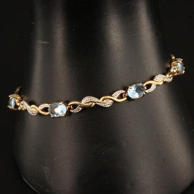 Sterling Silver Faceted Glass Bracelet