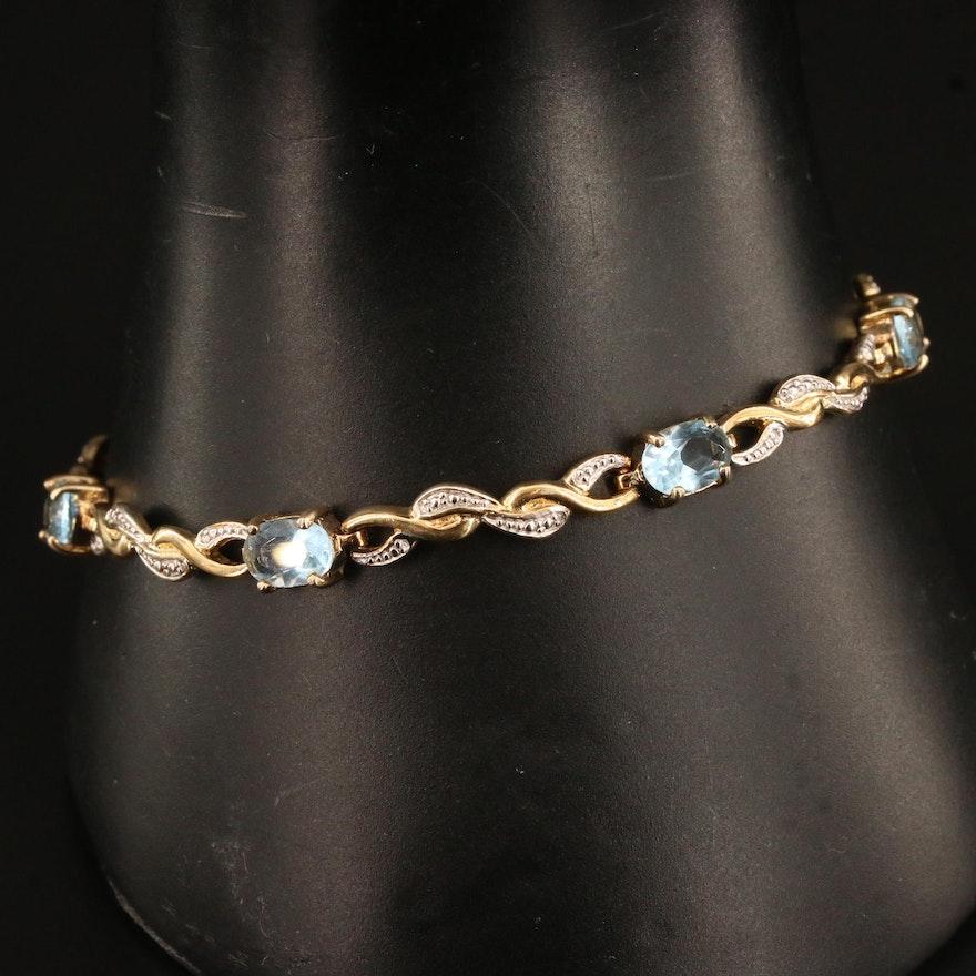 Sterling Silver Faceted Glass Bracelet
