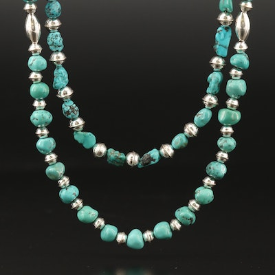 Southwestern Style Turquoise Necklaces with Sterling Clasp and Spacer Beads