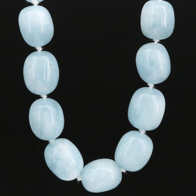 Aquamarine Bead Necklace with Sterling Silver Clasp
