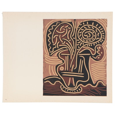 "Pablo Picasso Linoleum Cut ""Flower Vase"", 1962"