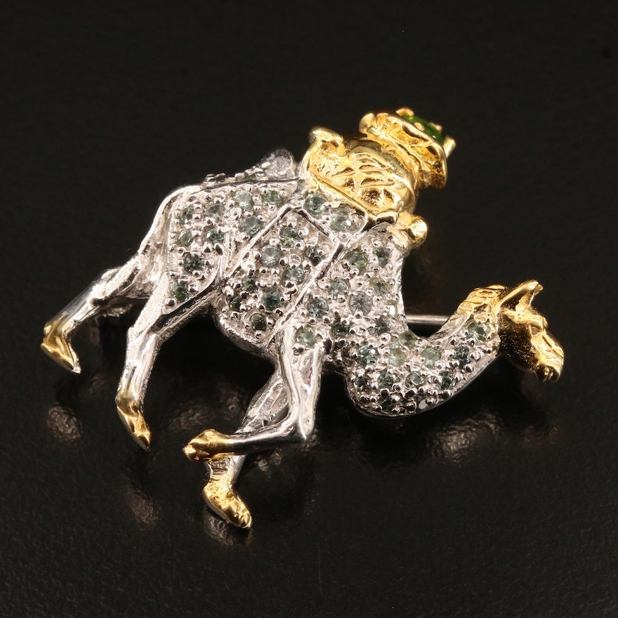 Sterling Silver Diopside and Sapphire Camel Brooch
